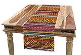 ABAKUHAUS Messicano Servizio all'Americana, Folk Vintage Geometrica, Rettangolare Decorativo per Sala da Pranzo Cucina, 40 cm x 180 cm, Multicolore