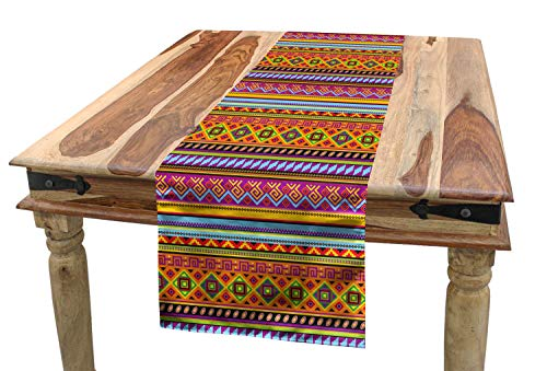 ABAKUHAUS Mexicano Camino de Mesa, Folk geométrica de la Vendimia, Decorativo para el Comedor o Sala de Estar Fácil de Limpiar, 40 x 180 cm, Multicolor