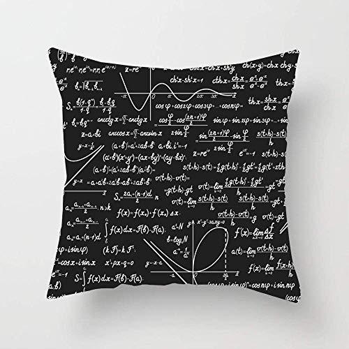 Álgebra Matemáticas Diferentes a las Figuras Educación Matemática Volver Parcela negra Pizarra de cálculo Tiza Funda de almohada de algodón suave Decoración del hogar Funda de almohada para sala de es