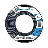Electraline 60113023D, Kabel H03VVH2-F Abschnitt 2x0,75 mm², Länge 5 m, Schwarz