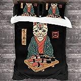 Qoqon Neko Sushi Bar Cat Juego de Cama de 3 Piezas Funda nórdica Juego de Cama Decorativo de 3 Piezas con 2 Fundas de Almohada