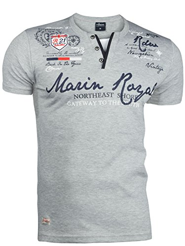 Trisens Herren Sommer Polo 2 IN 1 Hemd T-Shirt Poloshirt Kurzarm Baumwolle, Größe:L, Farbe:2475 Hellgrau