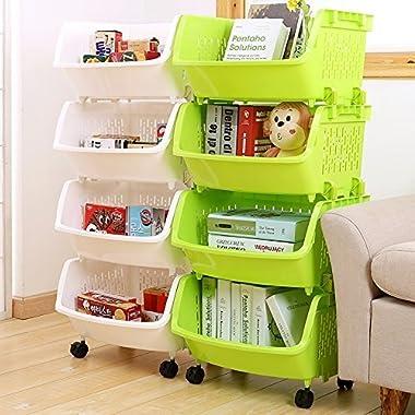AJ Storage Stacking Bins, Household Kitchen Plastic Stackable Vertical Storage Organizational Bins Vegetable Fruit Food Storage Basket Rack Organizer AJ9001 (4, whtie)