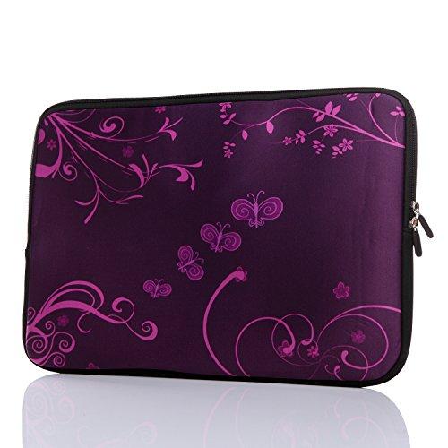 13.3-Inch to 14-Inch Laptop Neoprene Sleeve Case with Hidden Handle for 12.9 13 13.3 14 14.1' Inch Men Women Ultrabook/Chromebook/Tablet/Netbook (13.3-14 Inch, Purple Butterfly)