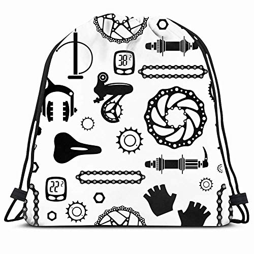 DHNKW Drawstring Backpack String Bag 14X16 Clipart Cycle Bicycles Pattern Hub Part Parts Wheel Iron Textures Aluminum Mountain Bike Motion Biking Black Sport Gym Sackpack Hiking Yoga Travel Beach