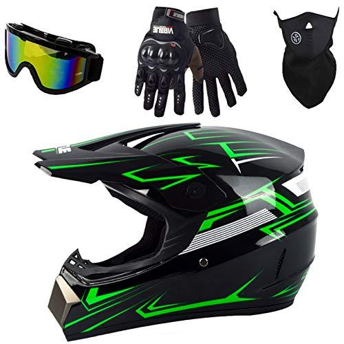 LCRAKON Motocross Helmet Black-Green Kids Adult Off-Road DH Enduro Racing Downhill Dirt Bikes MTB ATV BMX Quads Motorbike Helmet Set with Goggles Mask Gloves - Personality Cool - S/M/L/XL