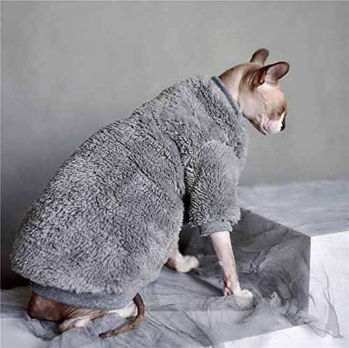 ZHIHAN Sphinx Katze Kleidung Winter Lamm Samt Pullover Dicke warme Jacke grau, L, grau