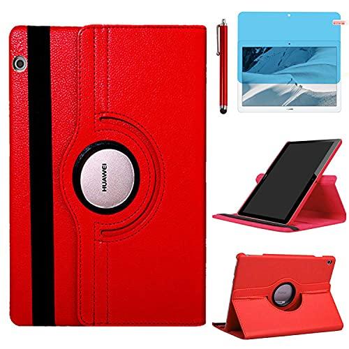Funda para Huawei MediaPad T3 10 Casos 9.6 Inch Modelo AGS-W09 AGS-L09 AGS-L03,360 Rotación Soporte Protección Cubrir,Tener bolígrafo,Película (Red)