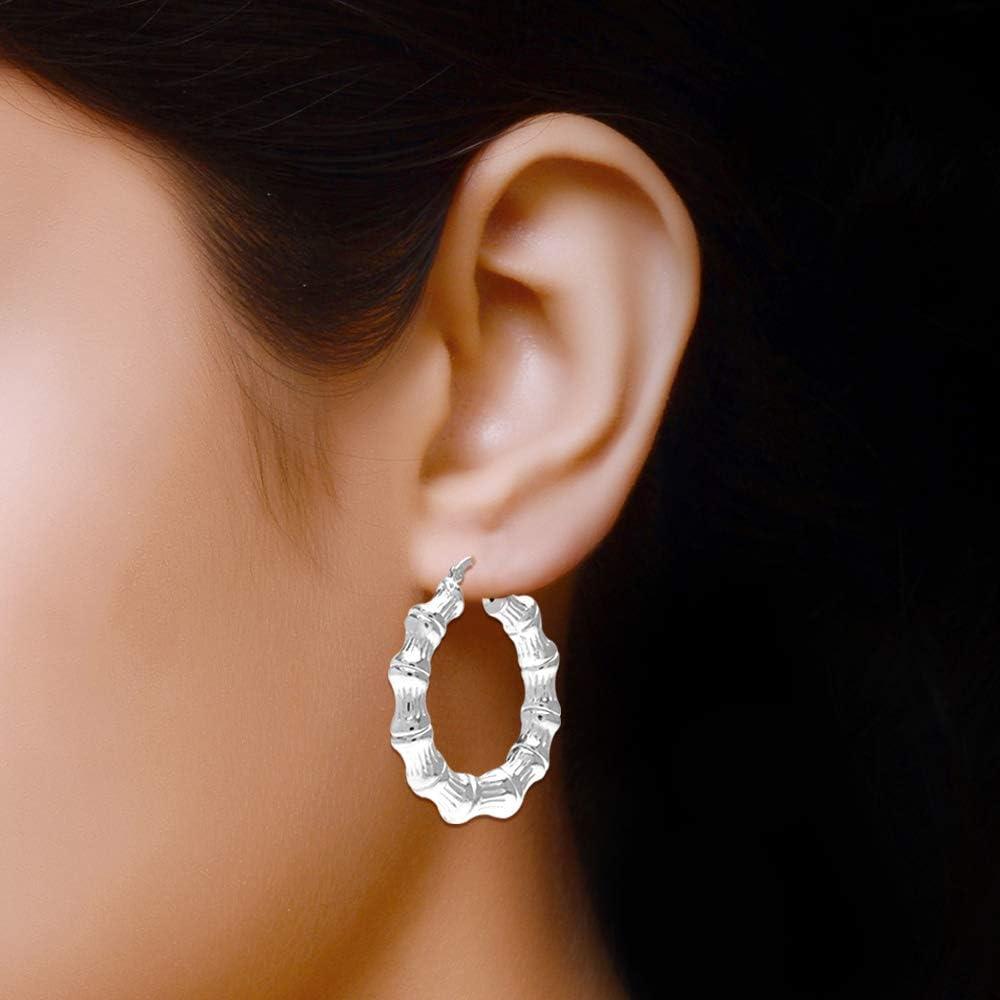 LeCalla Sterling Silver Light-Weight Bamboo Hoop Earrings for Women