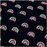 VmG-Store JB007 - Tela de jersey por metros para coser II (150 cm de ancho, 25 x 150 cm), color negro y lluvia
