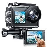 Caméra de Sport Double Écran avec Microphone Externe 4K/30fps 20MP EIS WiFi Caméra Étanche 40m Caméra d'action 170° avec Écran tactile Télécommande 2 Batteries Rechargeable1350mAh et kit d'accessoires