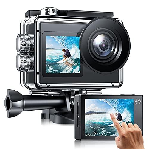 Action cam Doppelbildschirm 4K /30fps WiFi Action Kamera mit Externes Mikrofon, Unterwasserkamera Wasserdicht 40m, EIS Anti-Shake 20MP Sportkamera mit Fernbedienung, 2 Akkus 1350mAh und Zubehör Kits