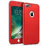 Funda para iPhone 6,iPhone 6S Carcasa Funda Caso 360 Grado Full Body Completa Cover + Vidrio templado,ETSUE Ultra Delgado Doble Delantera TPU Silicona Carcasa integral Funda para iPhone 6/6S-360 Rojo