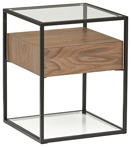 Amazon Brand - Rivet King Street 1-Drawer 1-Shelf End/Side Table with Glass Top, 43 x 54 x 43 cm, MDF with Walnut Veneer/Black Metal/Glass