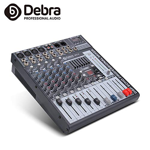 Debra Audio 6/8/12 Kanäle Clean Sound Bluetooth Studio Mixer Audio - DJ Sound Controller Interface USB Drive PC Recording Input, XLR Mic Jack, 48V Power 6 Channel
