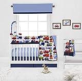 Bacati Transportation Boys 10 Piece Nursery in a Bag with Long Crib Rail Guard Cover 200 percent Cotton Boys Crib Bedding Set, Blue/Multi