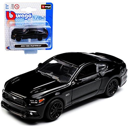 Bburago Ford Mustang VI Coupe Schwarz Ab 2014 1/64 Modell Auto mit individiuellem Wunschkennzeichen