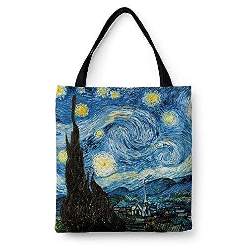 WANGNIU Bolsos de hombro con cremallera de lona ecológica para mujer con bolsillo interior Bolsos reutilizables en caja Mountain -Starry Sky_M