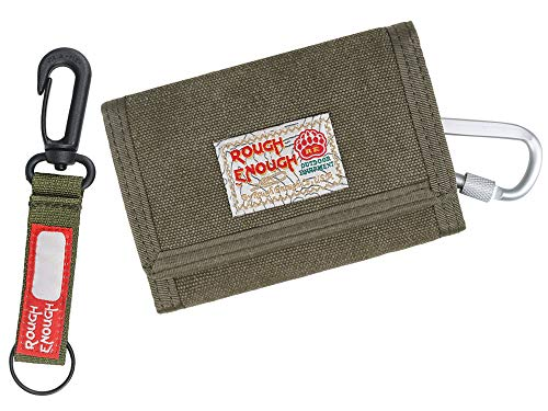 Rough Enough Kids Wallet for Teen Boys Men Keychain Trifold Canvas Wallet