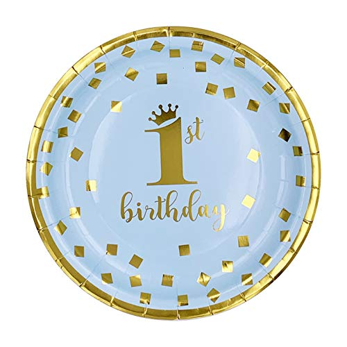 JSJJARF Potentiometer 8pc One Year Old Gilded Plates Baby Shower Tableware 1 Year First Birthday Boy Party Plates First Birthday Girl Decor (Color : 9in 9pc)