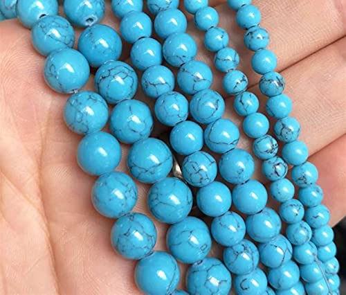 SAIYI Turquesa sintética Azul Perlas de Piedra Sueltas Redondas para joyería fabricación de Bricolaje Pulsera Collar Encanto 15 '' Strands 4/6 / 8/10 / 12mm (Color : 4mm (Approx 92pcs))