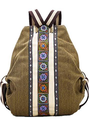 Naliovker Tribal Ethnic Canvas Damen Rucksack Tasche Hippie Schultertasche Maedchen Boho Rucksack