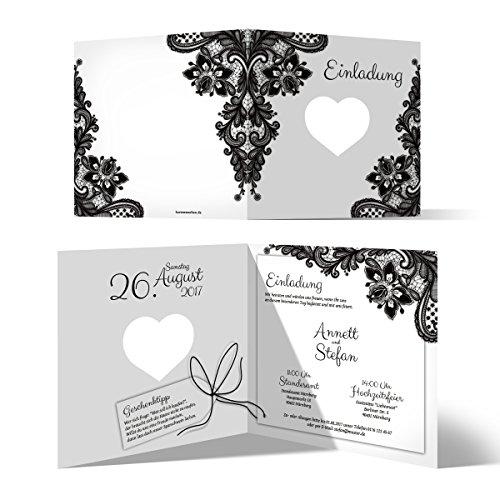 10 x Lasergeschnittene Hochzeit Einladungskarten Hochzeitseinladungen - Rustikal Schwarz Weiß