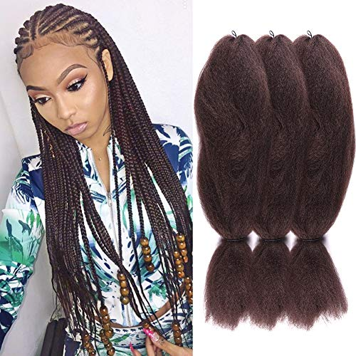 3 Pack 4# Jumbo Braids Hair Crochet Braiding Hair 48inch African Collection Xpressions Synthetic Fiber Braiding Hair Extensions 57g/pack color Brown