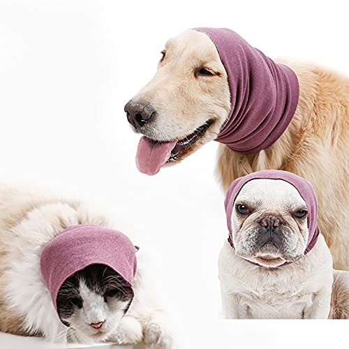 Dog Hood for Anxiety Relief and Calming, Pet Ears Protector for Grooming and Bathing Drying, Noise Reduction Sleeves Purple Color (Small)