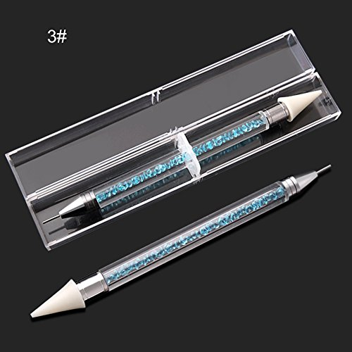 Cutowin - Bolígrafo de doble punta para decoración de uñas, bolígrafo de punto, perlas de cristal, broches para manicura