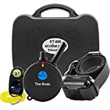 E-Collar ET-800-1 Mile Rechargeable Remote Waterproof Trainer - Static, Vibration and Sound Stimulation Collar with PetsTEK Dog Training Clicker