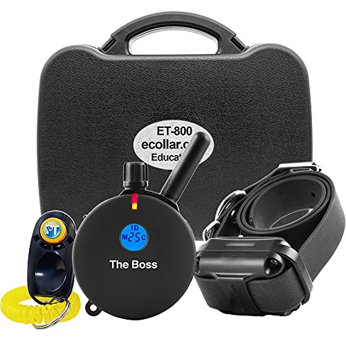 E-Collar ET-800-1 Mile Rechargeable Remote Waterproof Trainer – Static, Vibration and Sound Stimulation Collar with PetsTEK Dog Training Clicker