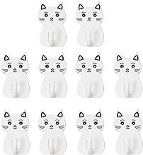 YARNOW 10pcs Plastic Wall Hook Cartoon Cat Wall Storage Hooks Adhesive Decorative Animal Wall Hangers for Home Restaurant ...