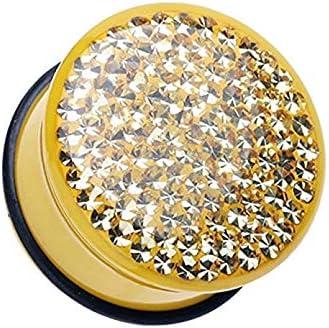 Covet Jewelry Brilliant Sparkles Color Body Single Flared Ear Gauge Plug