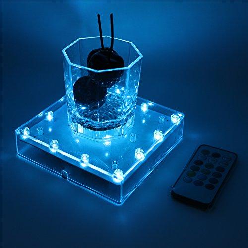 Ardux 12,7 cm quadratische LED-Vase mit 18 Tasten Fernbedienung mit Ladefunktion über USB oder batteriebetriebenem Sockel für Zuhause, Party, Tischdekoration