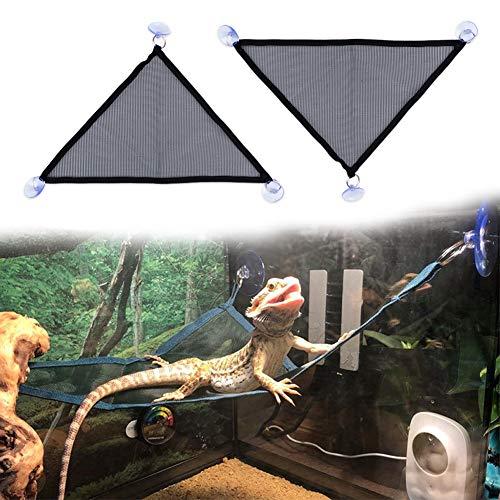 TODU ペット用品 ペットハンモック 爬虫類向け 爬虫類 トカゲ 小動物 メッシュ 爬虫類マット 両生類おもちゃ 飼育ケージ内装 吸盤付き 通気性 取り付け簡単ハンモック 2枚セット (M)