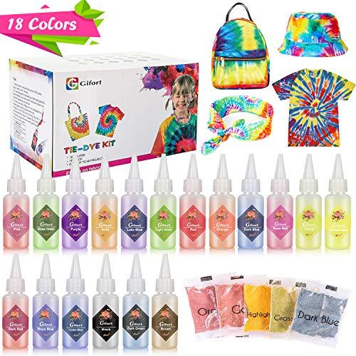 Gifort Tie Dye Kit, Textiles de Tela 18 piezas Colores Vibrantes Pinturas Ropa Tinte...