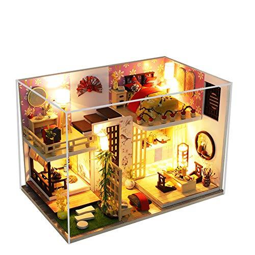erhumama DIY casa de muñecas con muebles led luz polvo kits miniatura japonesa tatami loft sala de madera de construcción modelo de rompecabezas juguete regalo para niños