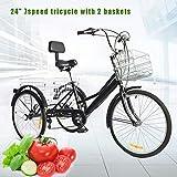"BTdahong 24"" Triciclo Adulto con 2 Cestas, Bicicleta 3 Ruedas Adulto, Bicicleta de Pedales 7..."
