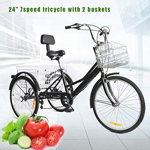 BTdahong Triciclo per Adulti da 24con 2 Cestini, Bicicletta per Adulti a 3 Ruote, Bicicletta a Pedali a 7 velocità, Triciclo Pieghevole per Adulti, Bici da Strada con Schienale a 3 Ruote