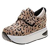 Toning Rocker Shoes,RQWEIN Women's Platform Wedges Tennis Walking Sneakers Comfortable Lightweight Casual Fitness Shoes(Brown,9)