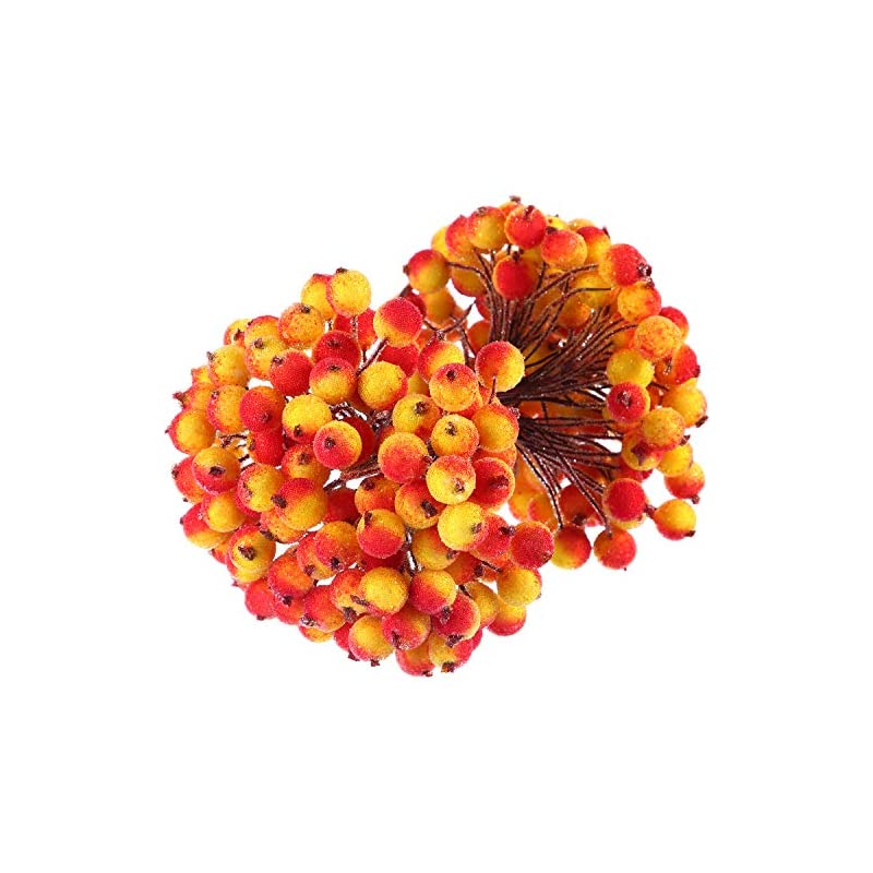silk flower arrangements bbto 100 wired stems of artificial holly berries artificial flower decor 200 pack 12 mm mini christmas frosted fruit berry (yellow with red)