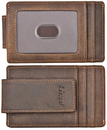 Money Clip, Front Pocket Wallet, Leather RFID Blocking Strong Magnet thin Wallet (Crazy Horse dark brown)