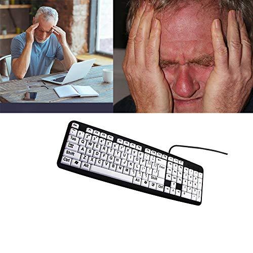 CNRGHS Wired Keyboard, Oud Man Toetsenbord, USB Kabel Grote Karakter Oude Man Toetsenbord, 107 Keys Waterdicht Ergonomisch Ontwerp, Visueel Verminderde Gebruik Van Toetsenbord