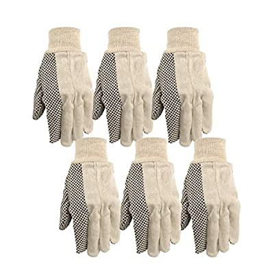 Wells Lamont Canvas Work Gloves, Economy Dotted, 6 Pair Pack (309K)