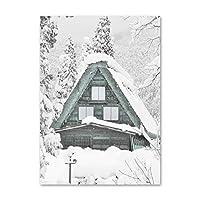 アルプススノーハウスマウンテンプリントキャンバス絵画壁アート写真ポスター用美的部屋の装飾クリスマスの寝室の装飾50x75cmフレームレス
