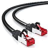 deleyCON 1,5m CAT6 Cable de Red - S/FTP PIMF Blindaje Cat-6 RJ45 Ethernet Cable de Conexión - LAN DSL Módem Los Paneles de Parcheo - Negro