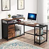 Tribesigns L-Shaped Desk with File Drawer Cabinet, Large Corner Computer Desk Study Writing Table Workstation with Storage Shelves and CPU Stand for Home Office(Rustic Brown)