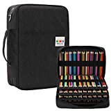 JAKAGO 304 Slots Pencil Case Large Capacity Gel Pen Case, Multi-Functional Organizer for Colored Pencils/Gel Pens/Markers/Makeup Brushes Stationery Pencil Pouch bag (Black-1)