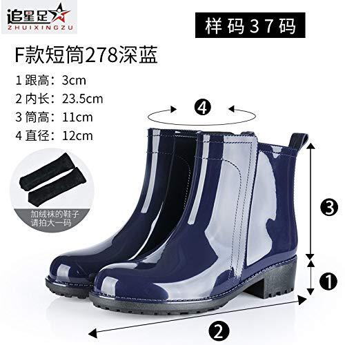 Dames korte rubberlaarzen, in de buis Martin laarzen korte slang, blauw, eenvoudige aantooning, zachte binnenvoering, waterlaarzen, gewatteerd voetbed, wellington voor over-lichtgewicht regenbui